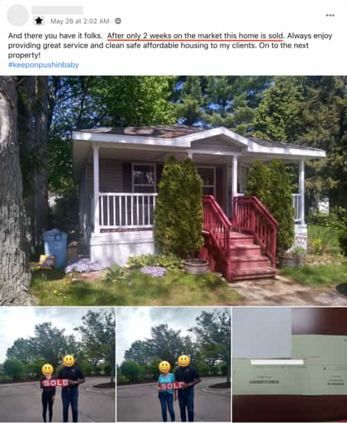 mobile home sold in 2 weeks